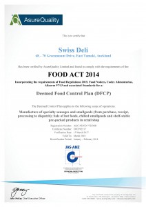 Swiss Deli Food Safety Certificate 2017