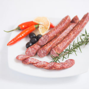 Swiss Deli Hunter Pork Stick is a smoked, dried and full-bodied salami style sausage made from select cuts of NZ pork with a hint of cumin for flavouring