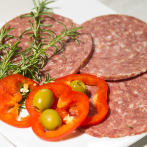 Swiss Deli Alpine Salami is a mild-flavoured, naturally matured, soft-textured Swiss style salami.
